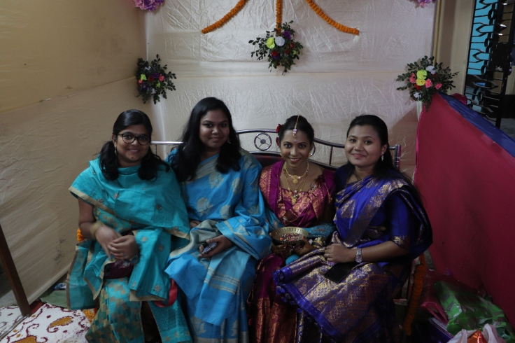 Srujana, Titu, Anjaly and me in my reception